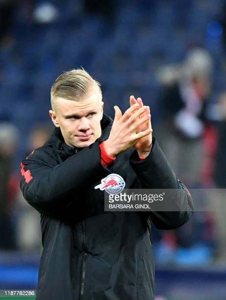 Salzburg's Norwegian forward Erling Braut Haland reacts at the end of the UEFA Champions League Group E football match between RB Salzburg and...