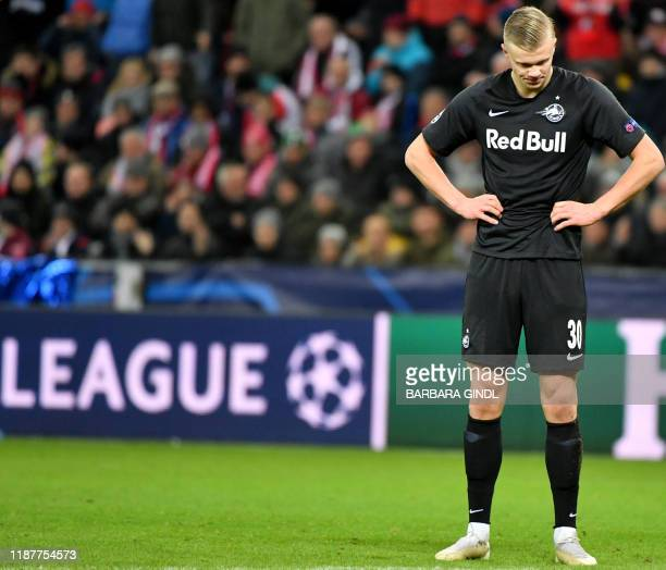 Salzburg's Norwegian forward Erling Braut Haland reacts during the UEFA Champions League Group E football match between RB Salzburg and Liverpool FC...