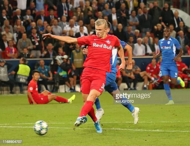Salzburg's Norwegian forward Erling Braut Haland scores during the UEFA Champions League Group E football match Salzburg v Genk in Salzburg Austria...