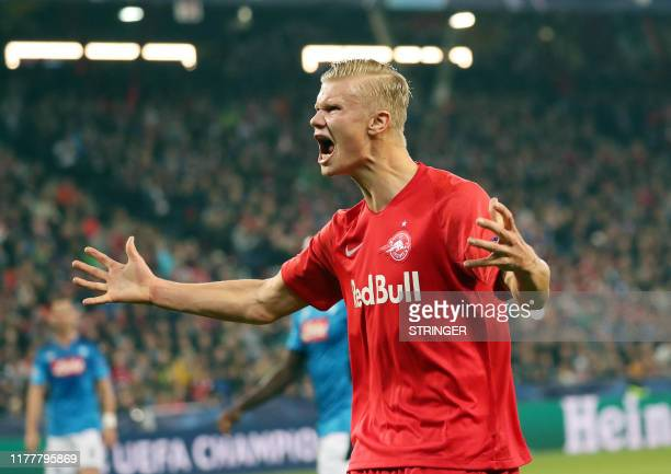 Salzburg's Norwegian forward Erling Haaland reacts during the UEFA Champions League Group E football match FC Red Bull Salzburg v SSC Napoli on 23...