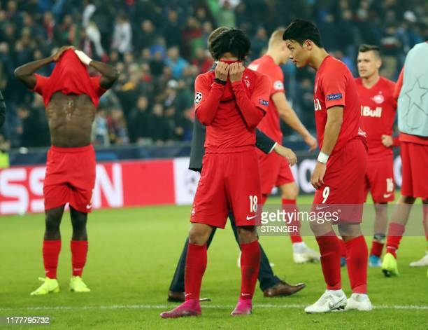Salzburg's players react after the UEFA Champions League Group E football match FC Red Bull Salzburg v SSC Napoli on 23 October 2019 in Salzburg...