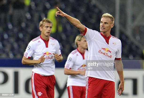 Salzburg's scorer Alexander Zickler celebrates after scoring during a UEFA Champions League qualification match between Red Bull Salzburg and Makkabi...