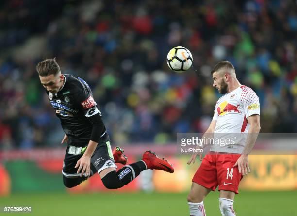 Salzburg's Valon Berisha Norwegian in action during Austrian Bundesliga match between Red Bull Salzburg and Sturm Graz at WalsSiezenheim Stadium in...