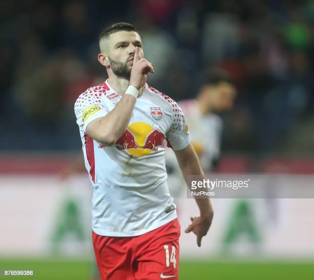 Salzburg's Valon Berisha Norwegian midfielder celebrates a goal during Austrian Bundesliga match between Red Bull Salzburg and Sturm Graz at...