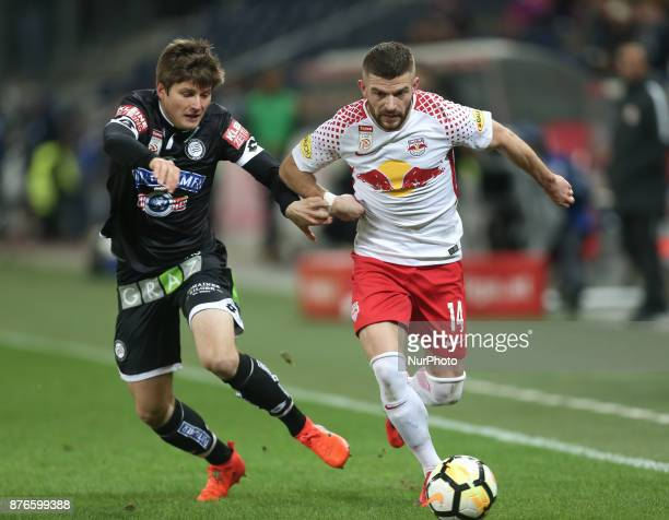 Salzburg's Valon Berisha Norwegian midfielder controls the ball during Austrian Bundesliga match between Red Bull Salzburg and Sturm Graz at...