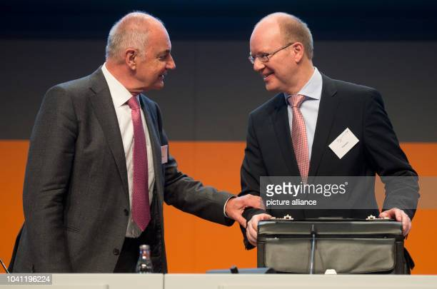 Salzgitter AG chairman of the management board Heinz Joerg Fuhrmann and chairman of the supervisory board Rainer Thieme attend the general meeting of...