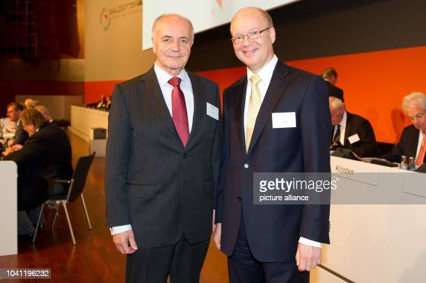 Salzgitter AG chairman of the supervisory board Rainer Thieme and chairman of the management board Heinz Joerg Fuhrmann pose at the company's general...