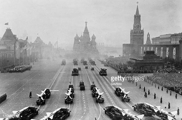 Sam 2 missiles on parade in red square moscow ussr november 7th 1957