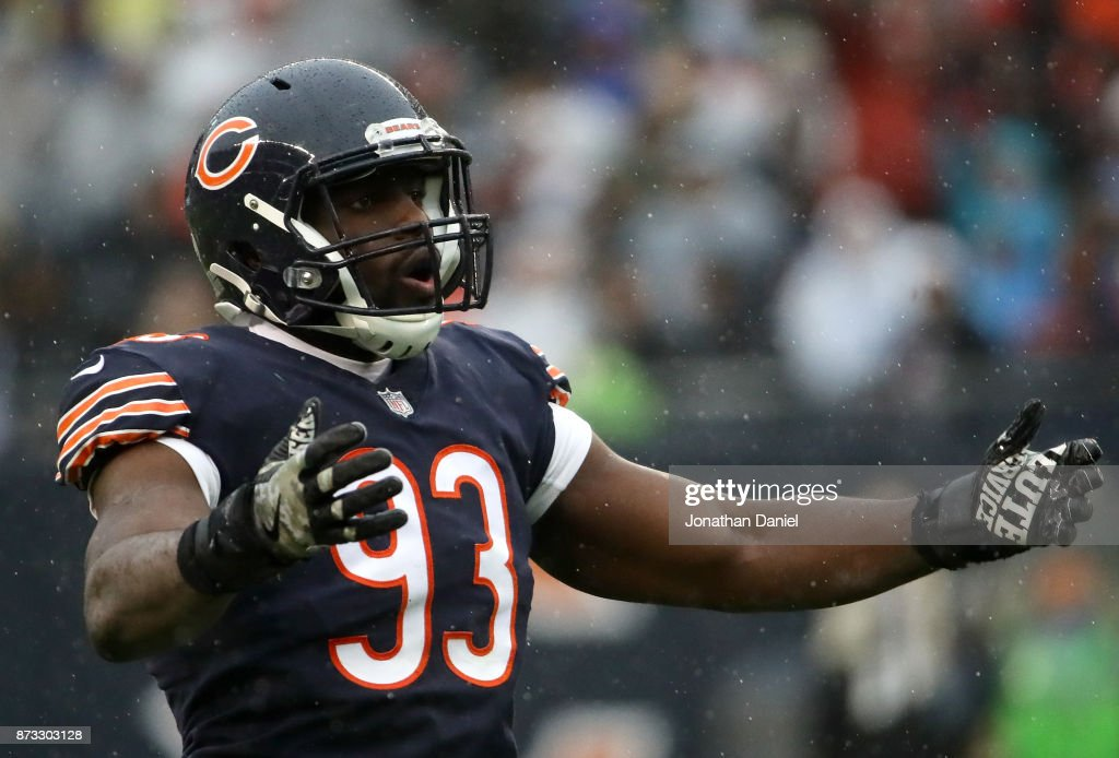 Sam Acho #93 of the Chicago Bears encourages the crowd in the first quarter against the Green Bay Packers at Soldier Field on November 12, 2017 in Chicago, Illinois.