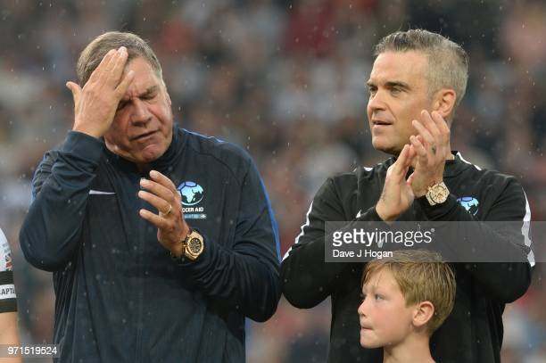 Sam Allardyce and Robbie Williams during Soccer Aid for Unicef 2018 at Old Trafford on June 10 2018 in Manchester England at Old Trafford on June 10...