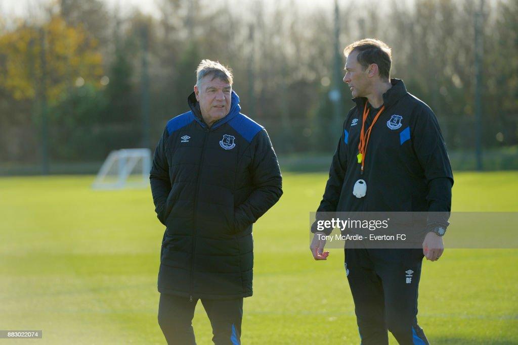 Sam Allardyce chats to Duncan Ferguson as they watch training at USM Finch Farm on November 30, 2017 in Halewood, England.