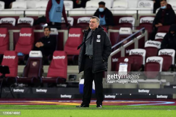Sam Allardyce head coach / manager of West Bromwich Albion looks on during the Premier League match between West Ham United and West Bromwich Albion...