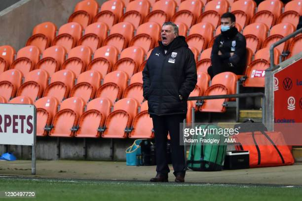 Sam Allardyce head coach / manager of West Bromwich Albion shouts during the FA Cup Third Round match between Blackpool and West Bromwich Albion on...