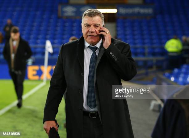 Sam Allardyce is seen arriving at the stadium prior to the Premier League match between Everton and West Ham United at Goodison Park on November 29...
