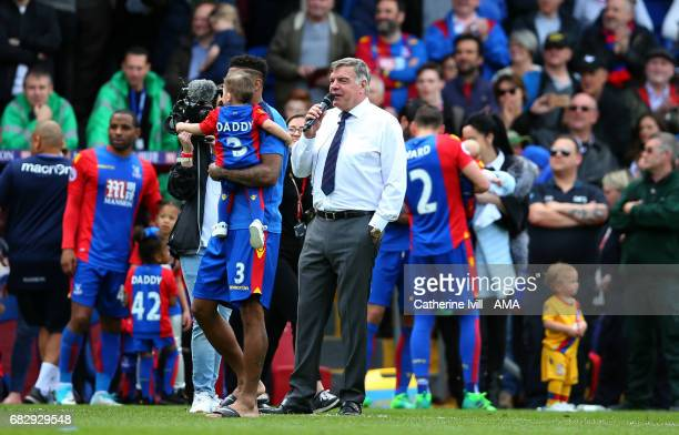 Sam Allardyce manager / head coach of Crystal Palace takes to the microphone to thank the supporters after the Premier League match between Crystal...