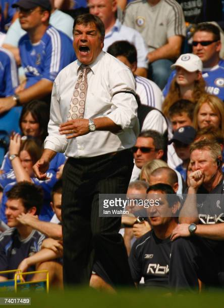 Sam Allardyce manager of Bolton Wanderers shouts from the bench during the Barclays Premiership match between Chelsea and Bolton Wanderers at...