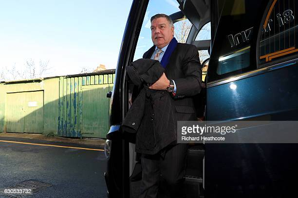 Sam Allardyce manager of Crystal Palace arrives at the stadium for the Premier League match between Watford and Crystal Palace at Vicarage Road on...
