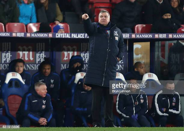 Sam Allardyce Manager of Crystal Palace gives his team instructions during the Emirates FA Cup third round replay between Crystal Palace and Bolton...