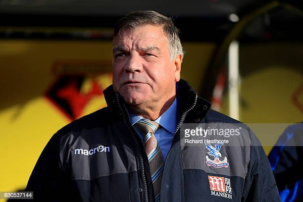 Sam Allardyce manager of Crystal Palace looks on before the Premier League match between Watford and Crystal Palace at Vicarage Road on December 26...