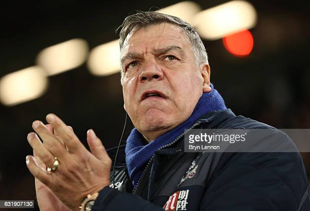 Sam Allardyce Manager of Crystal Palace looks on during the Emirates FA Cup third round replay between Crystal Palace and Bolton Wanderers at...