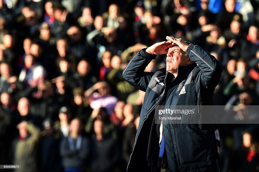 Sam Allardyce, manager of Crystal Palace looks on during the Premier League match between Watford and Crystal Palace at Vicarage Road on December 26, 2016 in Watford, England.