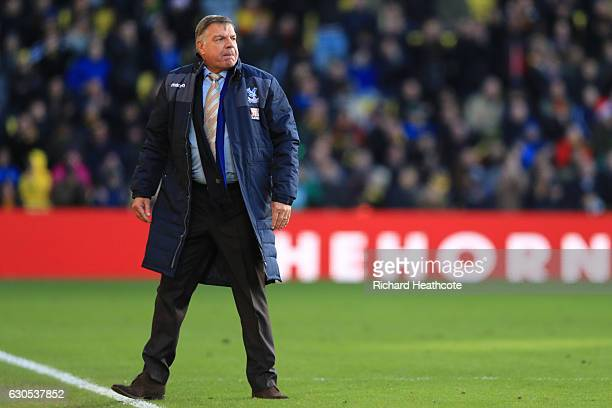Sam Allardyce manager of Crystal Palace looks on during the Premier League match between Watford and Crystal Palace at Vicarage Road on December 26...