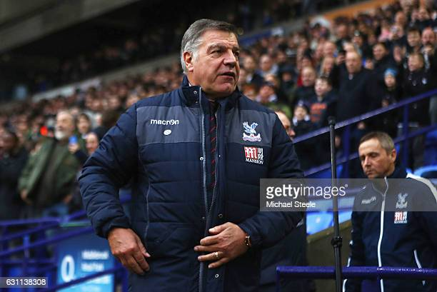 Sam Allardyce Manager of Crystal Palace looks on prior to the Emirates FA Cup third round match between Bolton Wanderers and Crystal Palace at the...