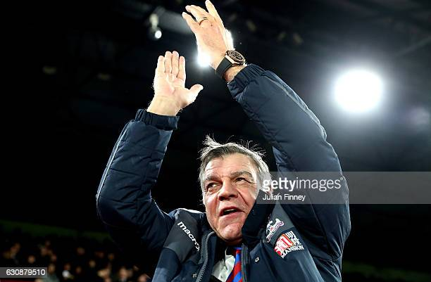 Sam Allardyce Manager of Crystal Palace looks on prior to the Premier League match between Crystal Palace and Swansea City at Selhurst Park on...