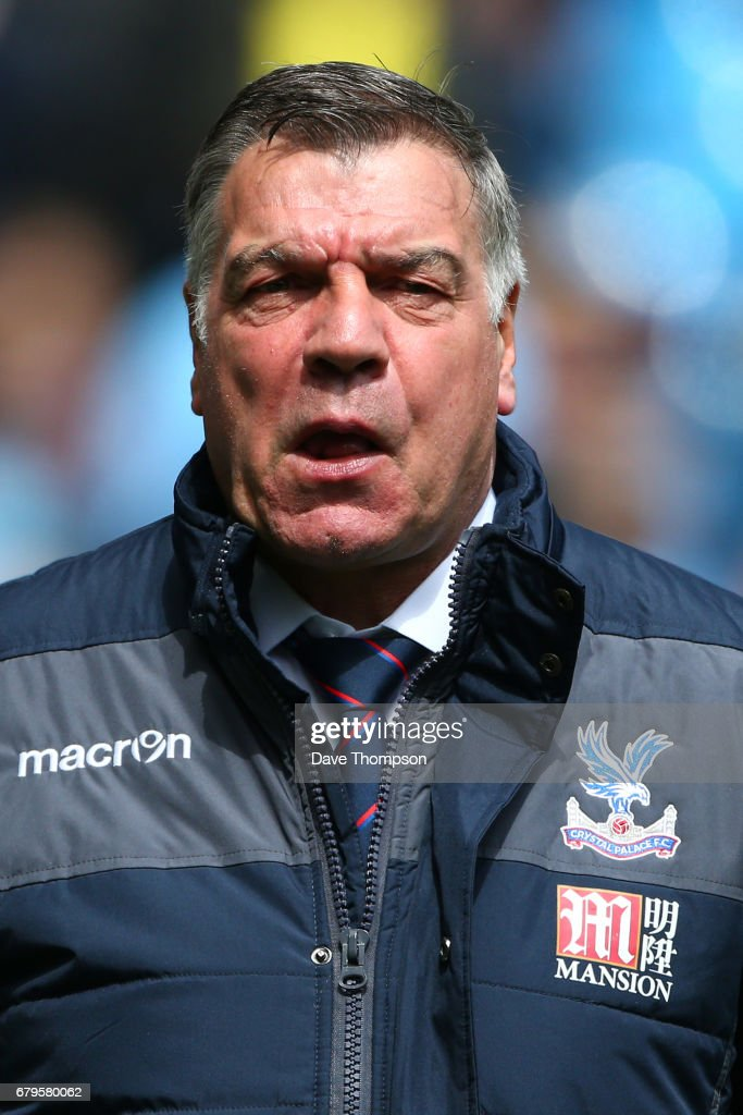 Sam Allardyce, Manager of Crystal Palace looks on prior to the Premier League match between Manchester City and Crystal Palace at the Etihad Stadium on May 6, 2017 in Manchester, England.