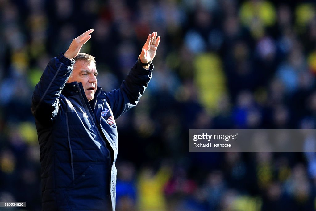 Sam Allardyce, manager of Crystal Palace reacts during the Premier League match between Watford and Crystal Palace at Vicarage Road on December 26, 2016 in Watford, England.