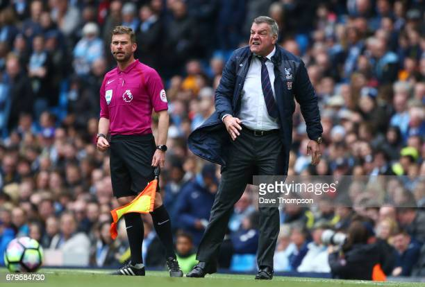 Sam Allardyce Manager of Crystal Palace reacts during the Premier League match between Manchester City and Crystal Palace at the Etihad Stadium on...