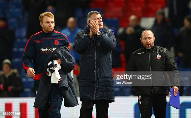 Sam Allardyce Manager of Crystal Palace shows appreciation to the fans as he walks to his seat pior to kick off during the Emirates FA Cup third...