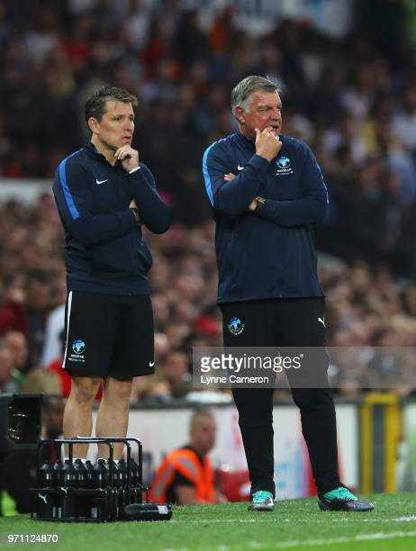 Sam Allardyce manager of England and Ben Shephard assistant manager of England look on during the Soccer Aid for UNICEF 2018 match between Englannd...