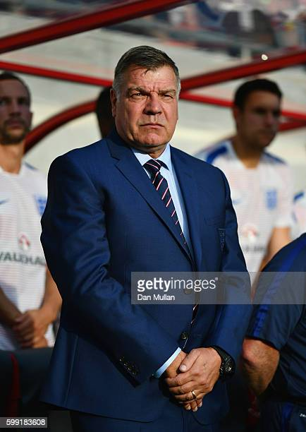 Sam Allardyce manager of England looks on prior to the 2018 FIFA World Cup Group F qualifying match between Slovakia and England at City Arena on...