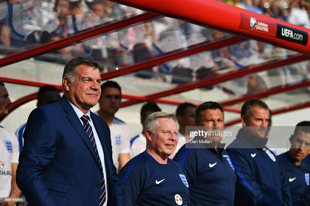 Sam Allardyce manager of England, Sammy Lee assistant manager of England, Craig Shakespeare coach of England and Martyn Margetson goalkeeping coach of England look on prior to the 2018 FIFA World Cup Group F qualifying match between Slovakia and England at City Arena on September 4, 2016 in Trnava, Slovakia.