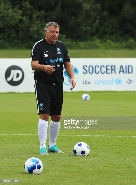 Sam Allardyce manager of England takes part in training during a Soccer Aid for UNICEF media session at Fulham FC training ground on June 7 2018 in...