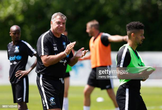 Sam Allardyce manager of England takes part in training during Soccer Aid for UNICEF media access at Fulham FC training ground on June 8 2018 in New...