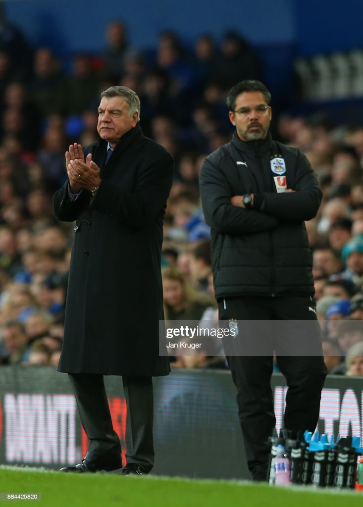 Sam Allardyce, Manager of Everton and David Wagner, Manager of Huddersfield Town during the Premier League match between Everton and Huddersfield Town at Goodison Park on December 2, 2017 in Liverpool, England.