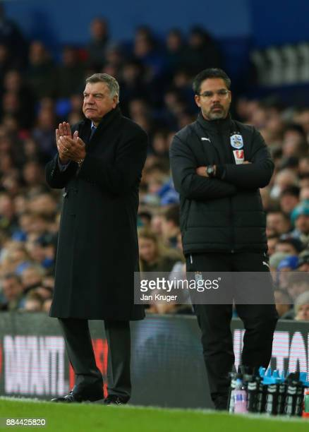 Sam Allardyce Manager of Everton and David Wagner Manager of Huddersfield Town during the Premier League match between Everton and Huddersfield Town...