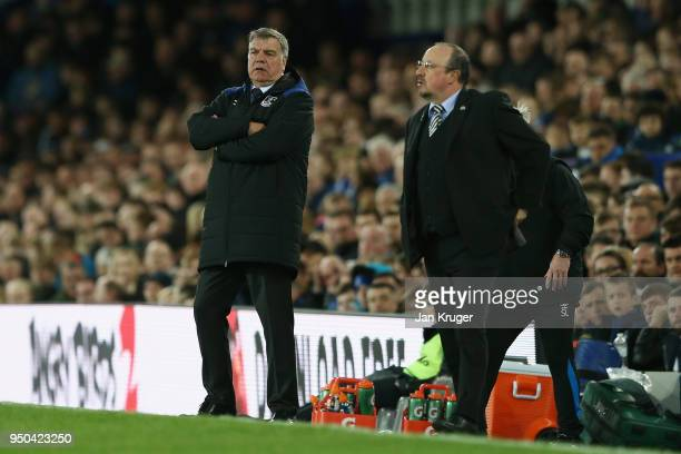 Sam Allardyce Manager of Everton and Rafael Benitez Manager of Newcastle United looks on during the Premier League match between Everton and...
