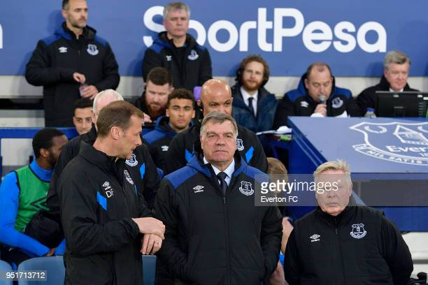Sam Allardyce manager of Everton during the Premier League match between Everton and Newcastle United at Goodison Park on April 23 2018 in Liverpool...