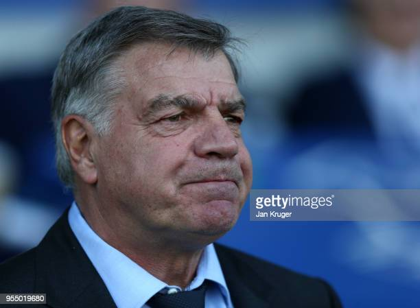 Sam Allardyce Manager of Everton looks on prior to the Premier League match between Everton and Southampton at Goodison Park on May 5 2018 in...