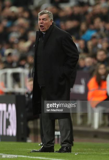 Sam Allardyce Manager of Everton reacts during the Premier League match between Newcastle United and Everton at St James Park on December 13 2017 in...