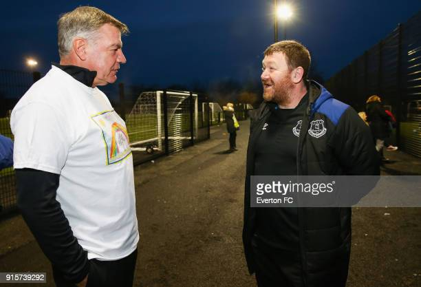 Sam Allardyce Manager of Everton shares a joke with some Everton fans during the James Greenop Legacy Kicks session on January 25 2018 at at Prescot...