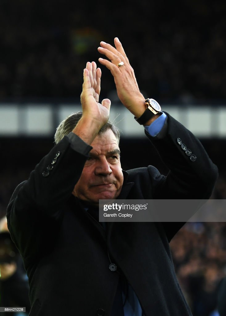 Sam Allardyce, Manager of Everton shows appreciation to the fans prior to the Premier League match between Everton and Huddersfield Town at Goodison Park on December 2, 2017 in Liverpool, England.
