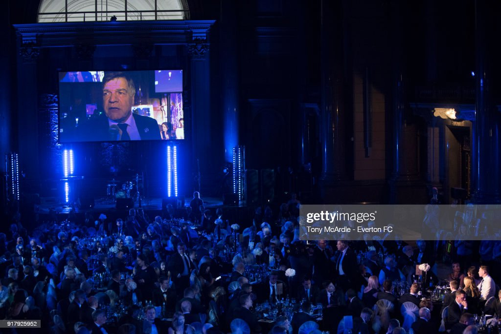 Sam Allardyce manager of Everton speaks during the Everton in the Community Gala Dinner at St Georges Hall on February 13, 2018 in Liverpool, England.