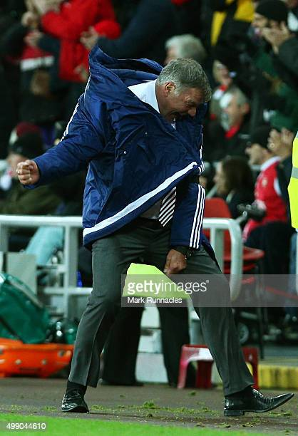 Sam Allardyce manager of Sunderland celebrates his team's second goal during the Barclays Premier League match between Sunderland and Stoke City at...