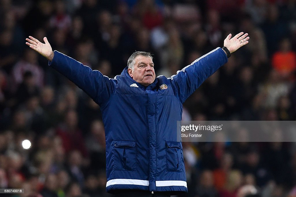 Sam Allardyce, manager of Sunderland reacts during the Barclays Premier League match between Sunderland and Everton at the Stadium of Light on May 11, 2016 in Sunderland, England.