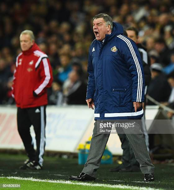 Sam Allardyce manager of Sunderland shouts during the Barclays Premier League match between Swansea City and Sunderland at the Liberty Stadium on...