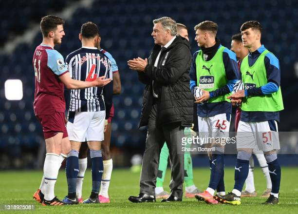 Sam Allardyce, Manager of West Bromwich Albion interacts with Declan Rice after the Premier League match between West Bromwich Albion and West Ham...